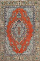 Vintage Geometric Orange 4'x6' Traditional Tebriz Hand-knotted Area Rug Wool