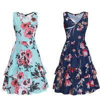 Women Summer V Neck Floral Ruffle Casual Sleeveless Dress With Pocket