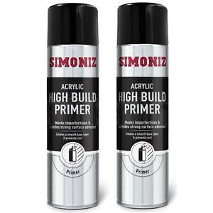 2 x Simoniz High Build Primer Fast Drying Putty Filler Spray Aerosol Paint 500ml