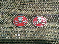 BIKER MOTORCYCLE CLOTHING GOTHIC PIRATE 6 SKULL & CROSSBONES PEWTER BUTTONS New