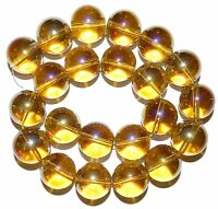 G2941 Golden Yellow AB 20mm Round Glass Beads 16""