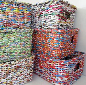 Aufbewahrungskorb Regalkorb Korb Körbe bunt Papiergeflecht 3 er Set Impressionen