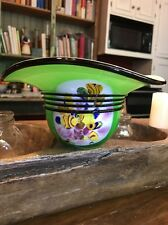 """Murano Millefiori Hand Blown Glass Large Green Floral Bowl Hat Vase 3""""x7"""""""