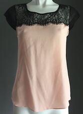 Feminine Black & Blush PORTMANS Lace Yoke Cap Sleeve Top Size 10