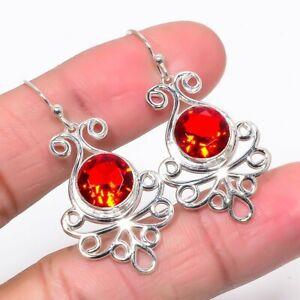 "Mozambique Garnet Gemstone 925 Sterling Silver Wire Earring 1.65"" S1918"