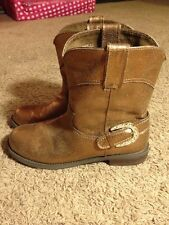 Womens 8.5 8 1/2 Bronze Boots Rhinestone Cowboy Cowgirl Western Pageant Casual