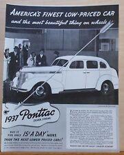 Vintage 1937 magazine ad for Pontiac - Silver Streak, Finest Bargain You Can Buy