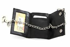 Trifold Snap Lock Leather Biker Wallet Black Men's Wallet