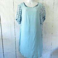 New Umgee Mini Dress L Large Blue Tie Dye Puff Sleeve Boho Peasant