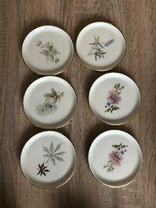 6 Untersetzer Fürstenberg Porzellan Blumen-Motive