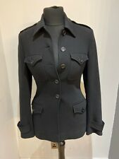 Karen Millen Black Short wool Blend Military Style Jacket Coat Size 10