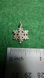 Vintage Signed 925 Sterling Silver Snowflake Charm Pendant