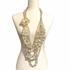 HUGE Faux Pearl Long Beaded Multi Strand Chunky Runway Statement Necklace Flower
