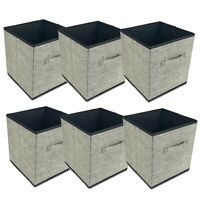 6 x Grey Foldable Fabric Storage Collapsible Box Clothes Organiser Fabric Cube