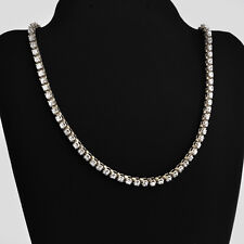"""14k White Gold Ca 10 CT. T.W. Cubic Zirconia 101 Link Tenness Necklace 15.5 """" L"""