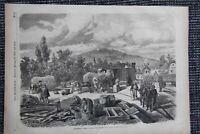 Eisenbahnstation Donchery guerre de 1870 HOLZSTICH von 1871