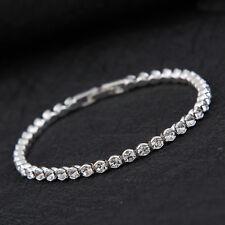 Bracciale donna tennis color argento con strass cristallo bianchi