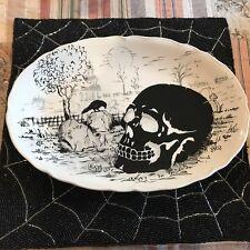 """Maxcera Halloween Skull in Grave Yard Black & White Serving Platter 14"""" New!"""
