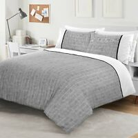 NightComfort Grey & White Smart Striped Duvet Cover & Pillow Cases Bedding Set
