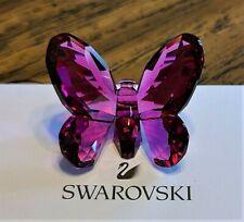 Swarovski Crystal 2009 Small Fuchsia / Rose Brilliant Butterfly Figurine, Logo
