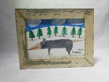 Minnie Adkins Folk Art Painting Opposum Custom Framed