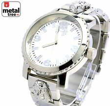 Men's Hip Hop Silver Plated Metal Band Techno Pave Jesus Watches 6937 S JF