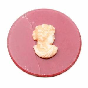 Large Czech antique reclaimed white cameo red glass cabochon plaque 50mm