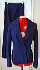 Escada 2 Piece Navy Blue Wool Blend LS Double Breasted Jacket Pantsuit - Size 34