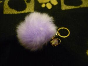 Fluffy purple / pink faux fur unicorn pom pom keyring handbag / bag accessory