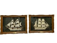 VTG Set TURNER WALL ACCESSORY Shadow Boxes Ships GOLDEN EAGLE & COLONIAL QUEEN