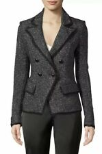 NWT VERONICA BEARD FRISCO TWEED DICKEY BLACK/SILVER JACKET sz 4 Blazer XS S $650