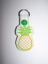 Handmade Pineapple Embroidered Key Fob, Zipper Pull, Snap Tab Key Chain