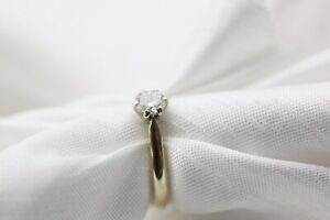 9ct Gold Diamond 0.33ct Solitaire Size K 1.7g Ring - 0101256