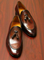 Mens Handmade Shoes Genuine Brown Leather Tassels Loafers & Slip On Formal Boots