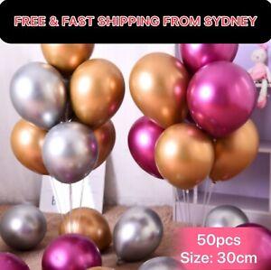 """50X 30cm/12"""" Metallic Chrome Double Thick Balloons  Birthday Party Wedding  Deco"""