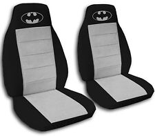 Batman Car Seat Covers in Gray & Black Velour Front Set