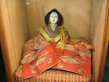 ANTIQUE 160 YR OLD JAPANESE HINANINGYO GIRL'S DAY DOLL PRINCESS WITH WOODEN BOX