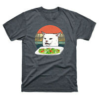 Angry Yelling At Confused Cat Eating Salad At Dinner Table Vintage Men's Tee