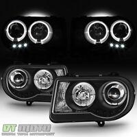 Black 2005-2010 Chrysler 300C LED DRL Halo Projector Headlights 05-10 Left+Right