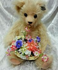Annette Funicello Pink/Peach Mohair Bear with Spring Flower Basket