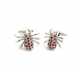 Men'Ssilver Spiderman Metal Red Crystal Shirt Cufflinks Wedding Party Cuff Links