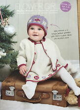 KNITTING PATTERN Baby Hat Pinafore Dress & Cardigan Flower Motif Babies PATTERN