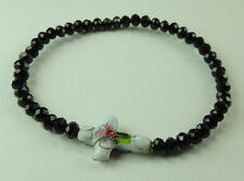 Stretch Black Crystal Bracelet with White Cloisonne Cross handcrafted Jewelry