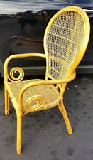SET OF (2) Vtg Boho MCM Bamboo Rattan Wicker Bentwood Fan Back Armchairs