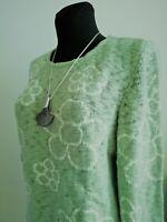 Gr. 44 bis 58 Sheego Damen Pullover Pulli Strick jade grün mit Blumen