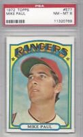 1972 Topps baseball card #577 Mike Paul, Texas Rangers PSA 8