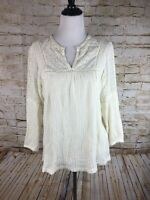 Lucky Brand Women's Long Sleeve Cream Color Top Large 100% Cotton Popover