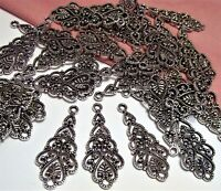 30 PCS ~DARK SILVER ORNATE FILIGREE CONNECTOR-COMPONENT-EARRING DROPS~CHANDELIER