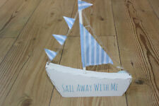 "Sass and belle, ""sail away with me"" sail boat autoportante en bois plaque"