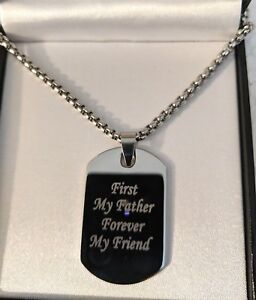 Mens Personalised Engraved Large Silver Steel Dog Tag Necklace, Christmas Gift